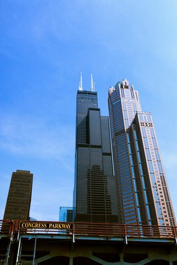 Willis Tower and 311 South Wacker Drive, from South Chicago River, Chicago, Illinois, USA : Stock Photo