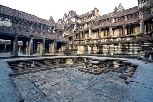 Stock Photo: 1828R-82021 Interior Galleries of Angkor Wat, Angkor, Cambodia
