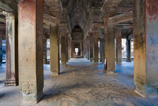 Interior Galleries of Angkor Wat, Angkor, Cambodia : Stock Photo