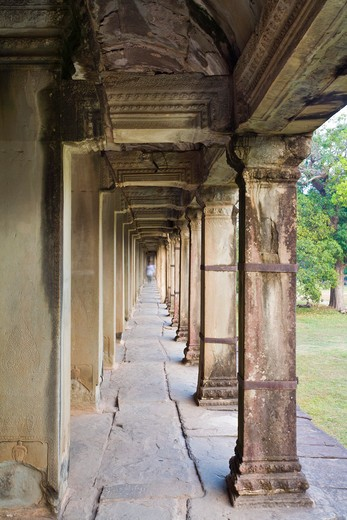 Stock Photo: 1828R-82023 Interior Galleries of Angkor Wat, Angkor, Cambodia