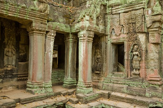 Stock Photo: 1828R-82030 12th - 13th Century Khmer Temple at Ta Prohm, Angkor, Cambodia