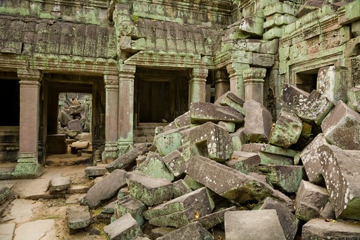 Stock Photo: 1828R-82031 12th - 13th Century Khmer Temple at Ta Prohm, Angkor, Cambodia