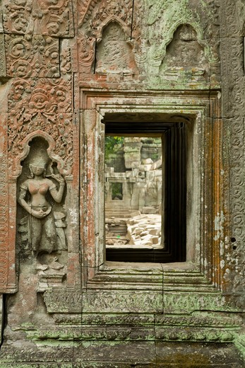 Stock Photo: 1828R-82032 12th - 13th Century Khmer Temple at Ta Prohm, Angkor, Cambodia