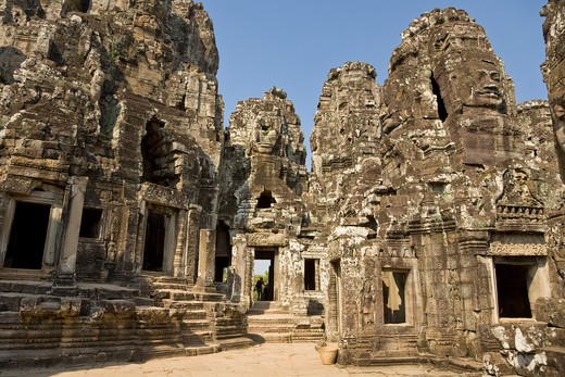 Stock Photo: 1828R-82042 Bayon Temple, Angkor Thom, Angkor, Cambodia