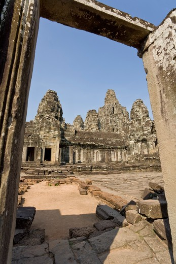 Stock Photo: 1828R-82049 Bayon Temple, Angkor Thom, Angkor, Cambodia