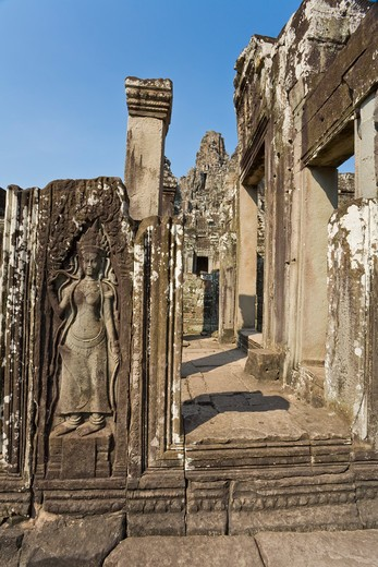 Stock Photo: 1828R-82050 Bayon Temple, Angkor Thom, Angkor, Cambodia