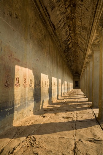 Stock Photo: 1828R-82054 Interior Galleries of Angkor Wat, Angkor, Cambodia