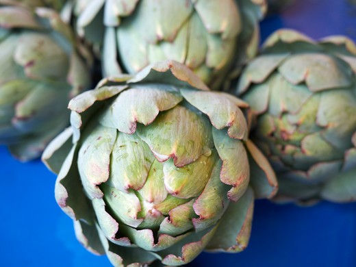 Stock Photo: 1828R-82126 Artichokes, Beaune Farmers Market, Beaune, Cote-d'Or, Bourgogne, France