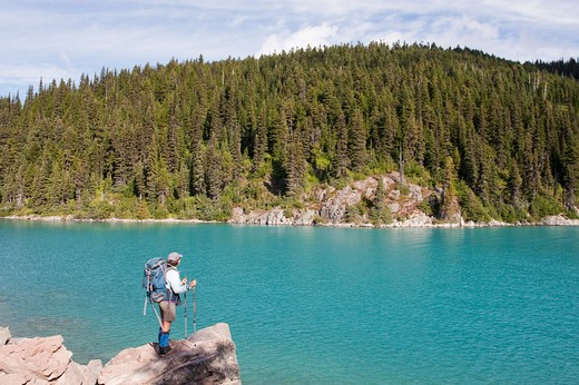 Stock Photo: 1828R-82207 Woman Hiking, Garibaldi Lake, Garibaldi Provincial Park, British Columbia, Canada