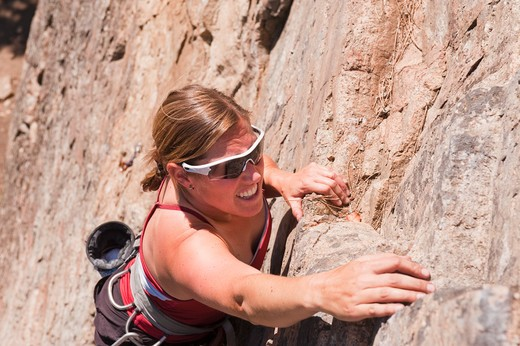 Stock Photo: 1828R-82234 Rock Climbing, Skaha Bluffs, Penticton, Okanagan Valley, British Columbia, Canada