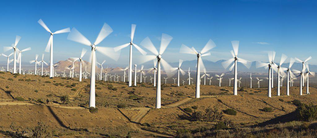 Stock Photo: 1828R-82270 Tehachapi Pass Wind Farm, Tehachapi, Kern County, California, USA