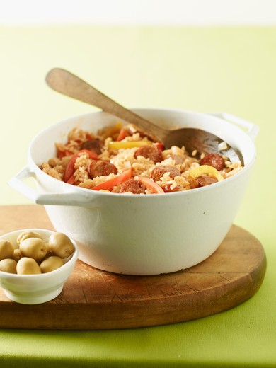 Spanish Rice and Bowl of Olives : Stock Photo