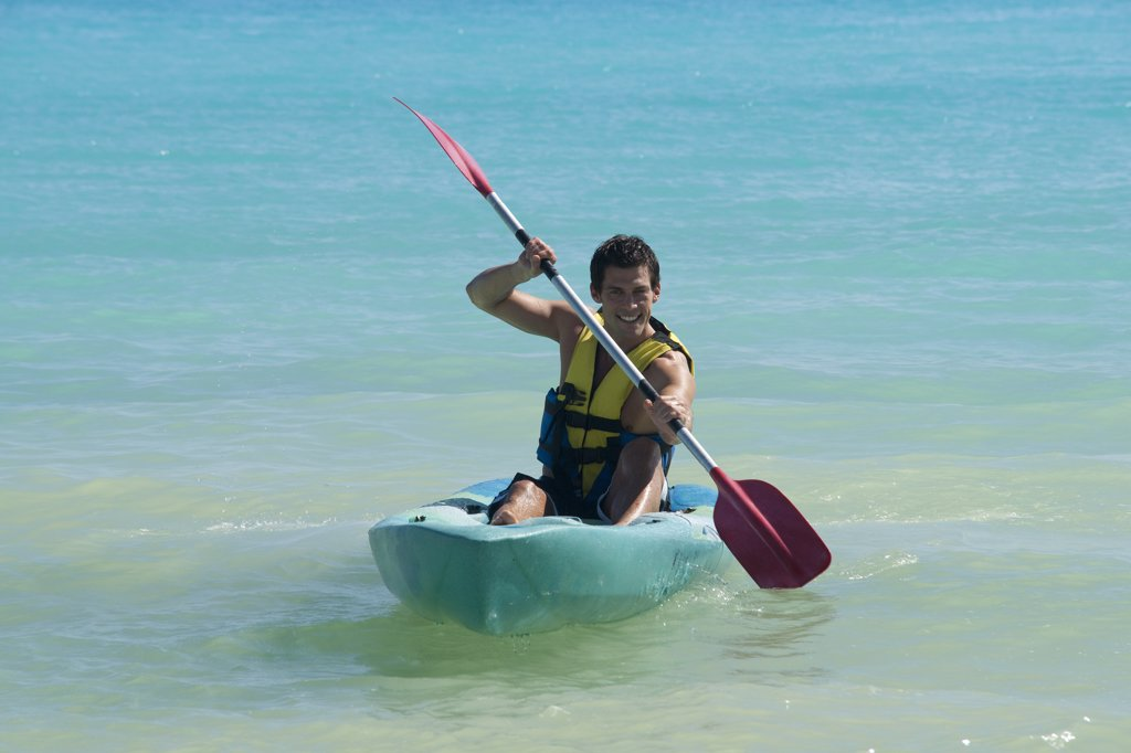 Stock Photo: 1828R-83095 Kayaking, Reef Playacar Resort and Spa Hotel, Playa del Carmen, Quintana Roo, Yucatan Peninsula, Mexico