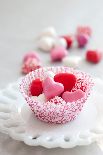 Candy Hearts in Paper Cup : Stock Photo