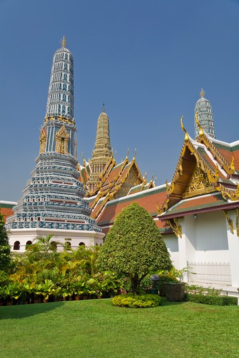 Prang, Phra Prang Paed Ong and Royal Pantheon, Wat Phra Kaew, Grand Palace, Bangkok, Thailand : Stock Photo