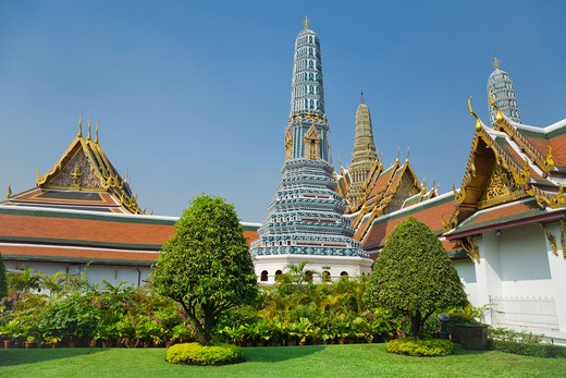 Stock Photo: 1828R-83722 Royal Chapel, Prang, Phra Prang Paed Ong and Royal Pantheon, Wat Phra Kaew, Grand Palace, Bangkok, Thailand