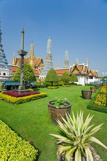 Prangs, Phra Prang Paed Ong and Royal Pantheon, Wat Phra Kaew, Grand Palace, Bangkok, Thailand : Stock Photo