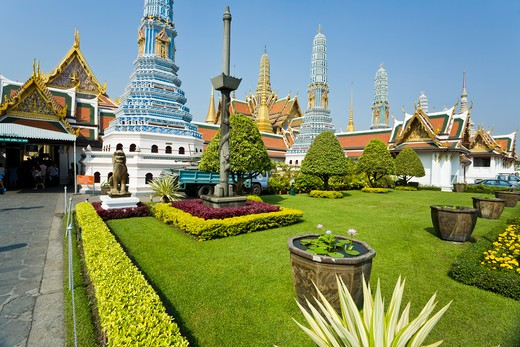 Prangs, Phra Prang Paed Ong and Royal Pantheon, Wat Phra Kaew, Grand Palace, Bangkok, Thailand : Stock Photo