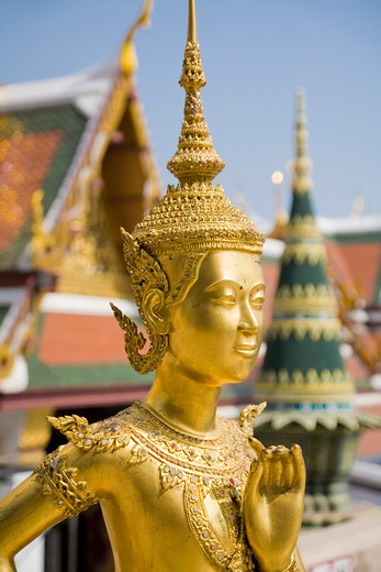 Stock Photo: 1828R-83731 Kinnara Statue, Wat Phra Kaew, Grand Palace, Bangkok, Thailand