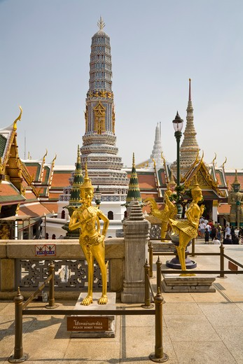 Stock Photo: 1828R-83732 Kinnara Statues and Prang, Phra Prang Paed Ong, Wat Phra Kaew, Grand Palace, Bangkok, Thailand