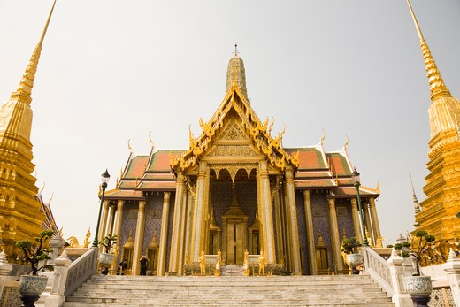Stock Photo: 1828R-83734 Royal Pantheon, and the Phra Chedi Thong, Wat Phra Kaew,