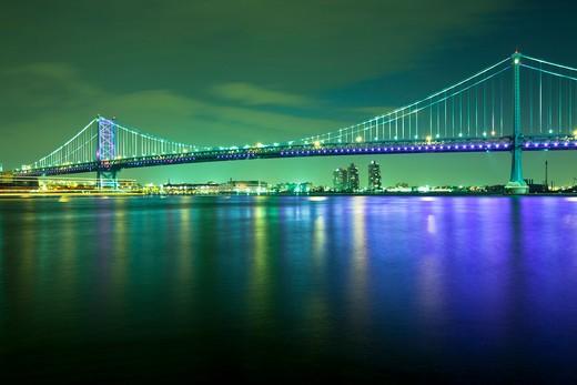 Stock Photo: 1828R-83774 Benjamin Franklin Bridge , Delaware River, Philadelphia, Pennsylvania, USA