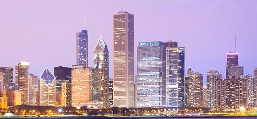 Stock Photo: 1828R-84015 Downtown City Skyline, Chicago, Illinois, USA