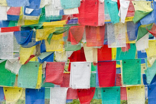 Stock Photo: 1828R-84082 Prayer Flags, Bhutan