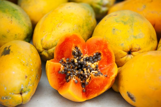 Stock Photo: 1828R-84598 Papaya, Kauai, Hawaii, USA