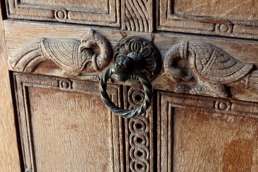 Carved Door with Two Birds, Entrance to Church of the Holy Apostles, Ancient Agora, Athens, Greece : Stock Photo