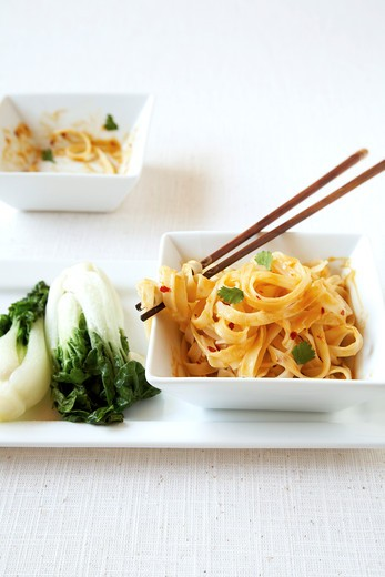 Stock Photo: 1828R-85222 Bok Choy and Rice Noodles
