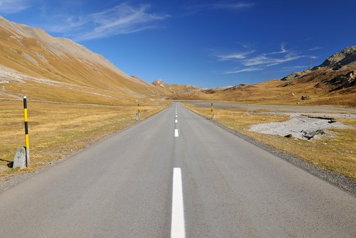 Road, Alp Nova, Albula Pass, Canton of Graubunden, Switzerland : Stock Photo