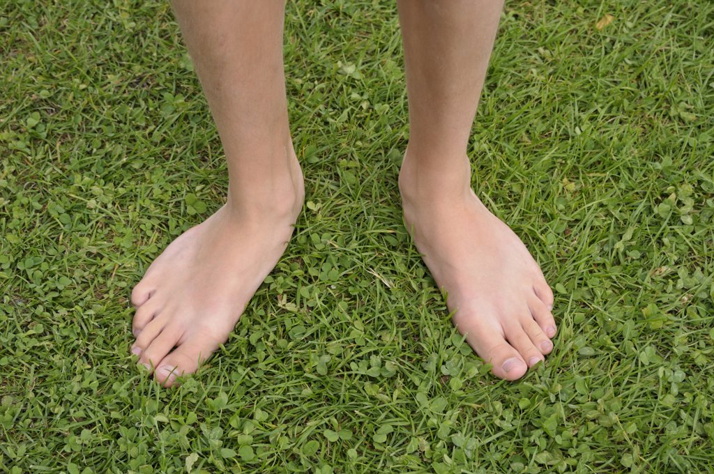 Close-up of Boy's Bare Feet on Grass, Alps, France : Stock Photo