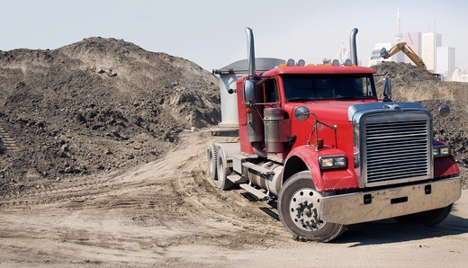 Stock Photo: 1828R-86794 Transport Truck at Construction Site, Toronto, Ontario, Canada