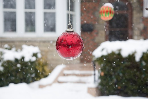 Christmas Balls Hanging from Tree in Front of House, Toronto, Ontario, Canada : Stock Photo