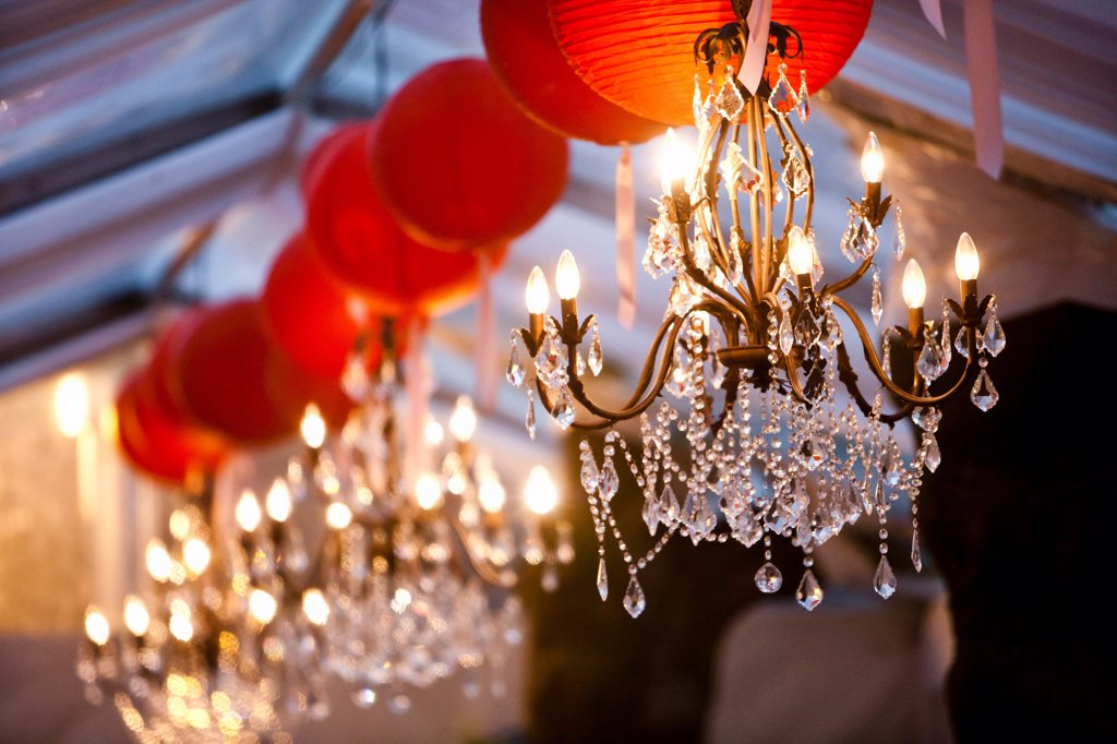 Chandeliers and Paper Lanterns : Stock Photo
