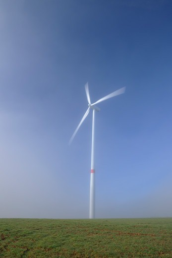 Wind Turbine in Field, Marktheidenfeld, Bavaria, Germany : Stock Photo