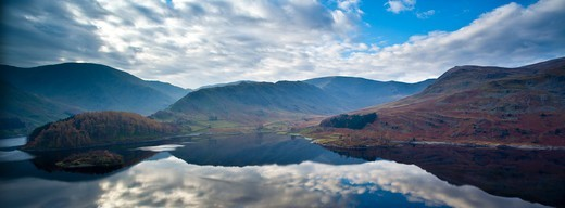 Stock Photo: 1828R-88078 Haweswater Reservoir and the High Street on the Eastern Fells, Lake District National Park, Cumbria, North West England, England