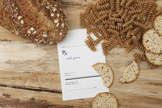 Stock Photo: 1828R-88088 Variety of Whole Grain Products and Prescription, Birmingham, Alabama, USA