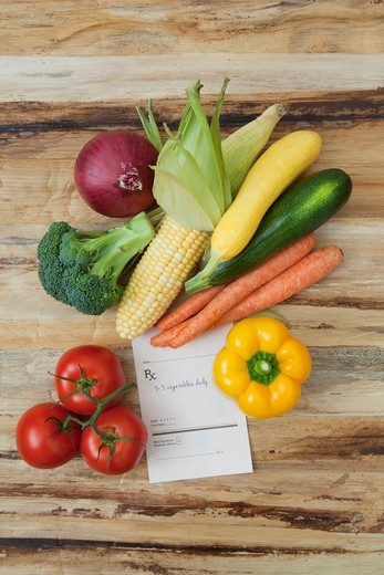 Stock Photo: 1828R-88105 Variety of Vegetables and Prescription, Birmingham, Alabama, USA