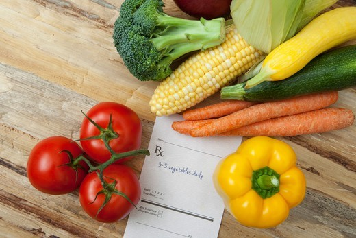 Stock Photo: 1828R-88106 Variety of Vegetables and Prescription, Birmingham, Alabama, USA