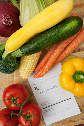 Stock Photo: 1828R-88107 Variety of Vegetables and Prescription, Birmingham, Alabama, USA