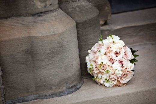 Bridal Bouquet on Stone Stairs : Stock Photo