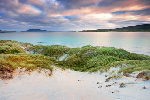 Stock Photo: 1828R-88249 Grass Covered Dunes, Sound of Taransay, Traigh Rosamal, Isle of Harris, Outer Hebrides, Scotland