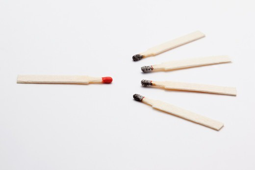 Stock Photo: 1828R-88297 Unused Match with Burnt Matches