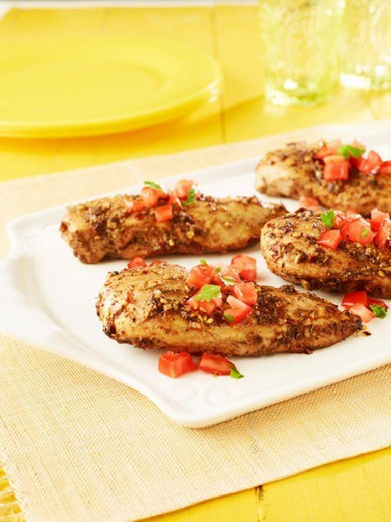 Stock Photo: 1828R-88311 Jerk Chicken with Tomato Salsa