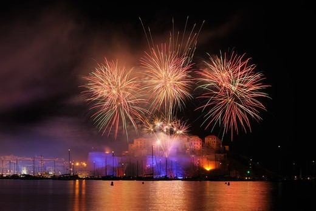 Stock Photo: 1828R-88339 Fireworks, Calvi, Balagne, Haute-Corse, Corsica, France