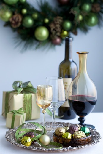 Wine and Glassware on Tray at Christmas : Stock Photo