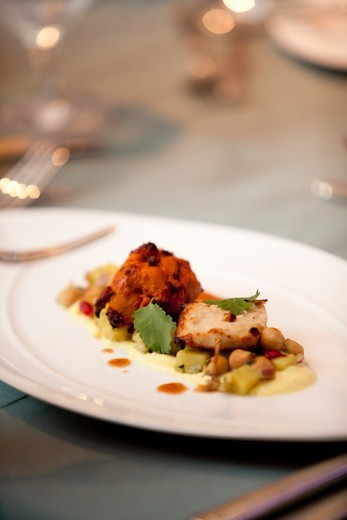 Stock Photo: 1828R-88778 Chick Peas and Chicken Dish at Hindu Wedding
