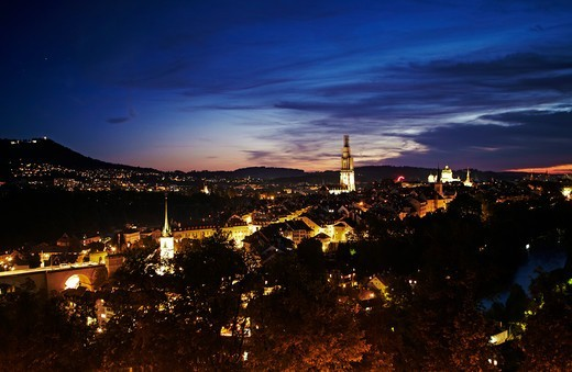 Cityscape at dusk from Rosengarten, Bern, Switzerland : Stock Photo